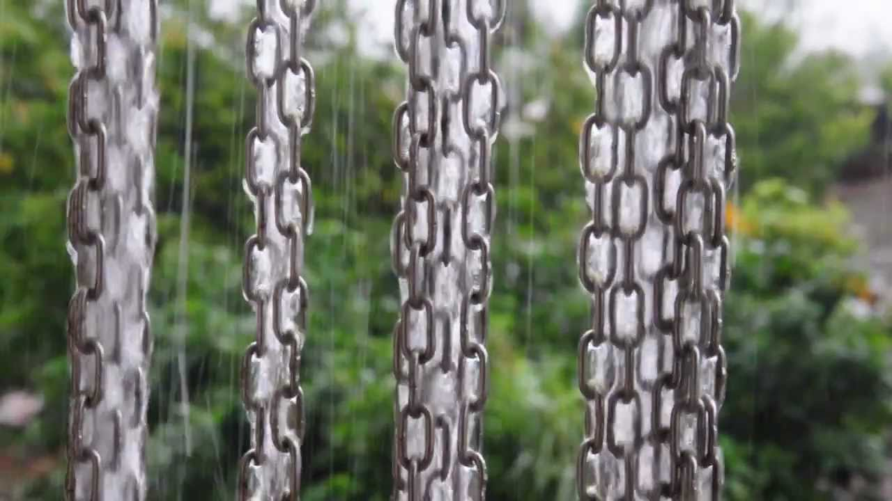 Multiple rain chains for increased effectiveness.